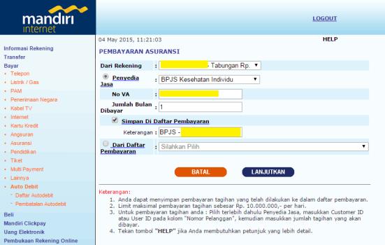 Isi nomor BPJS dan simpan informasi dalam e-Banking Mandiri