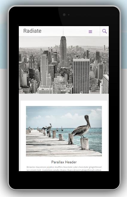 Contoh Themes WordPress Radiant dalam gadget Nexus7