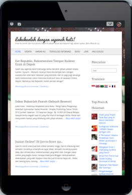 Tampilan putrichairina.com ketika menggunakan ipad