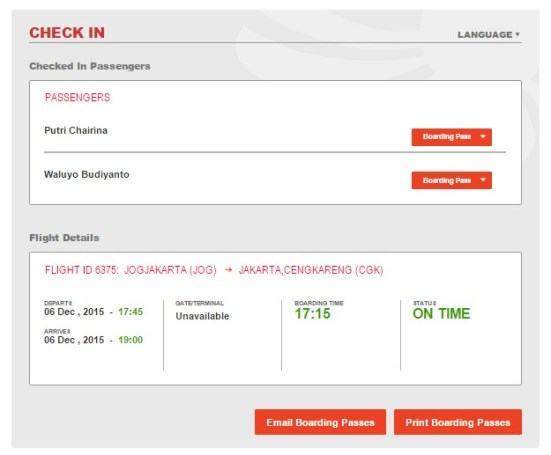 Proses Web Check In Selesai