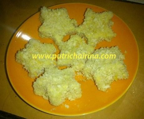 nugget setelah dilapisi telur dan tepung roti